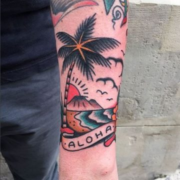 tatouage old school aloha anomaly paris